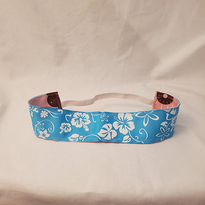Blue Hibiscus & Pink and Brown Floral Wide  Reversible Headband with Elastic