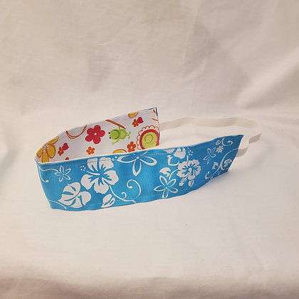 Blue Hibiscus and Springtime Wide Reversible Headband with Elastic