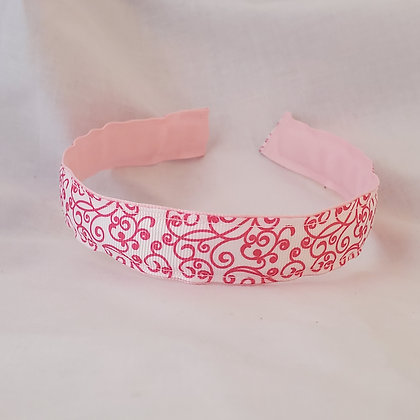 Pink Swirl Headband with cover