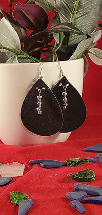 Black Glitter Leatherette Earrings with  Silver Beading
