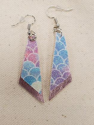 Mermaid Glitter & Rose Gold Trapezoid Leatherette Earrings
