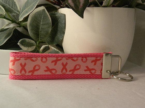 Pink Ribbons Wristlet Key Fob