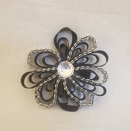Black and Silver Bling Hair Bow