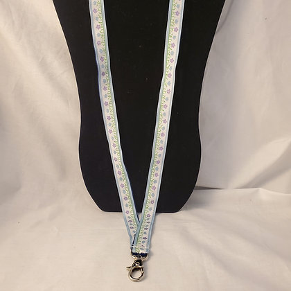Lavender and Blue Floral Lanyard