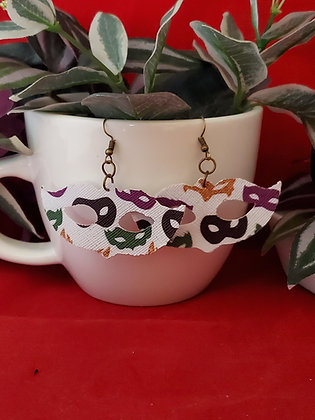 Mardi Gras Mask Shaped Earrings with Masks