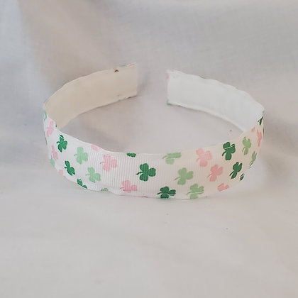 Clover in Pink & Green Reversible Headband with Cover