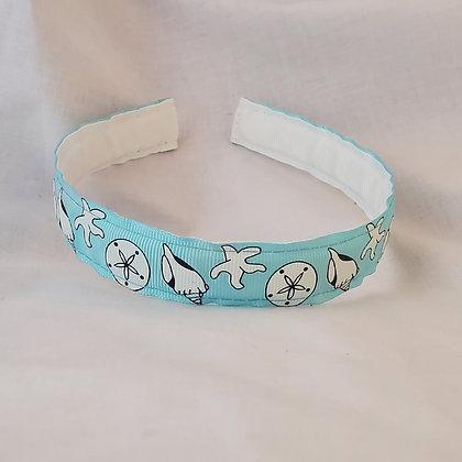 Blue Seashells Reversible Headband with Cover