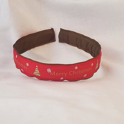 Red Merry Christmas Reversible Headband with Cover