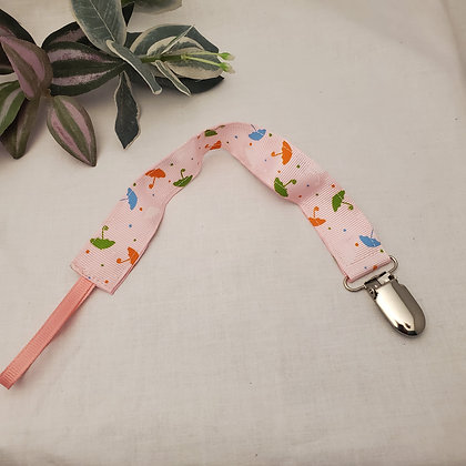 Pink Umbrella Pacifier Clip