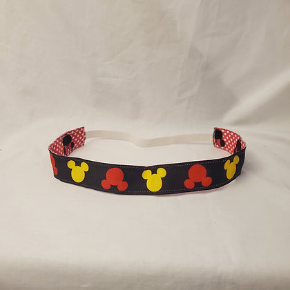 Minnie with Pink Dots and Mickey in Yellow and Red Headband with Elastic