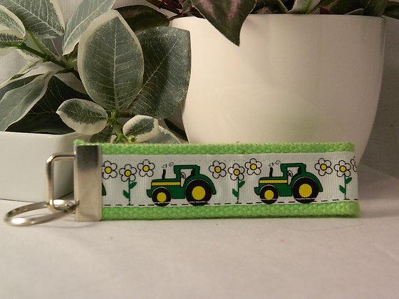Tractor on Green Wristlet Key Fob