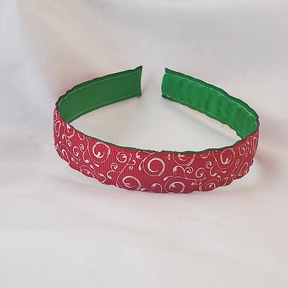 Red Swirls Reversible Headband with Cover