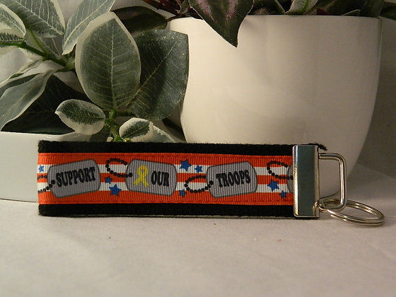 Support our Troops Wristlet Key Fob