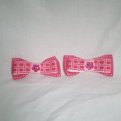 Pink Plaid Bow Tie Hair Clip Set