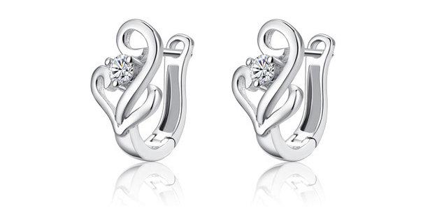 Silver Bling Swarovski Crystal Gold Plated Sterling Silver Earrings for Girls