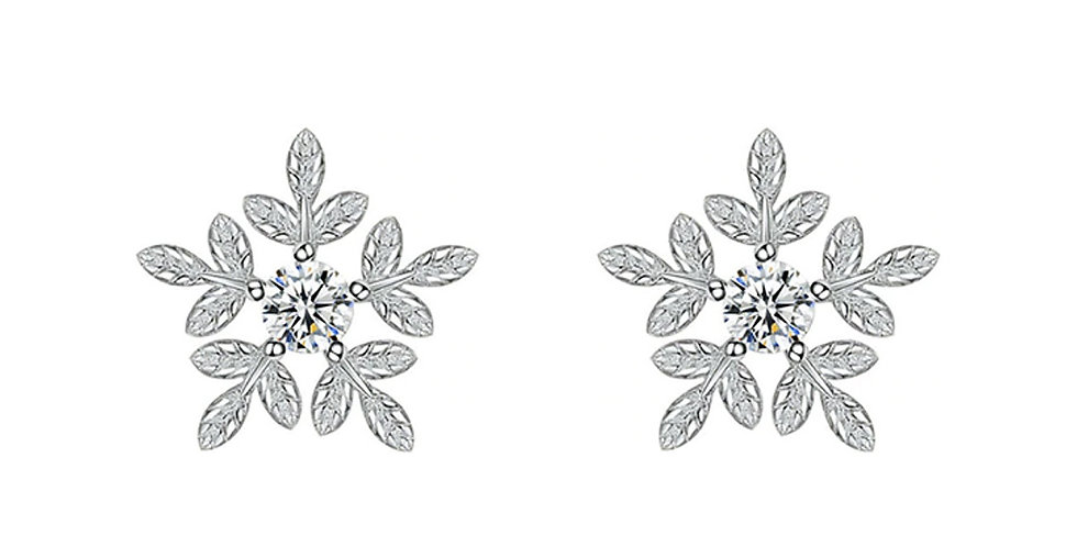 Silver Plated Snowflake Fashion High Quality Crystal Stud Earrings for Girls