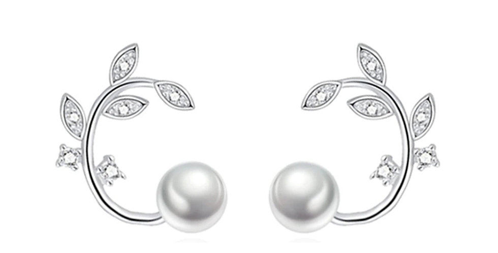 Silver Plated Fashion High Quality Crystal Pearl Cuff Earrings for Girls
