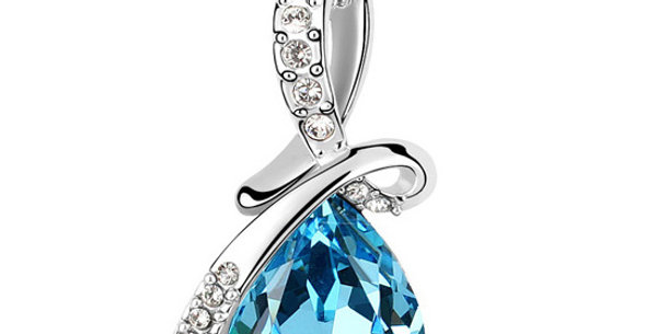 Mysterious Love Rhodium Plated Crystal, Cubic Zirconia Pendant for Girls
