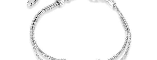 White Sterling-Silver Austrian Crystal Chain Bracelet For Women (SSBR0964A)