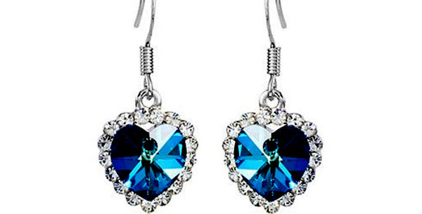 Blue Rhodium Plated Cubic Zirconia Alloy Dangle & Drop Earring For Women/Girls