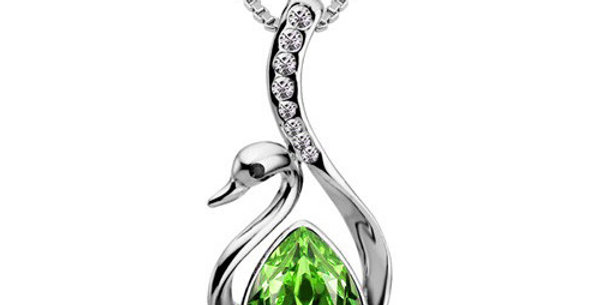 Studded Swan Rhodium Plated Crystal, Cubic Zirconia Pendant for Girls and Women