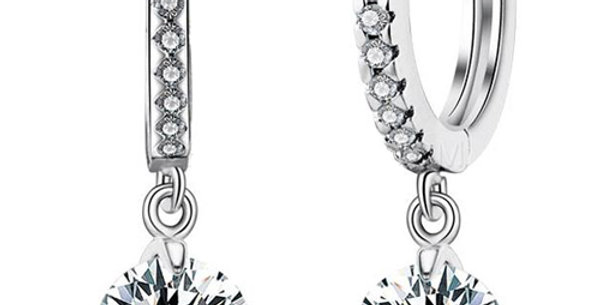 Passionate Rhodium Plated Crystal, Cubic Zirconia Metal Drop Earring for Girls