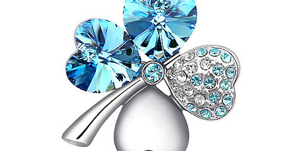 Valentine Special Rhodium Plated Crystal and Cubic Zirconia Brooch for Girls