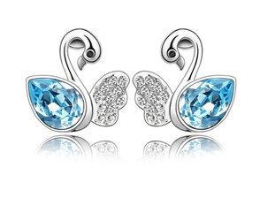 Silver Shoppee Jhumki Earrings for Women (Blue) (SSER0279A)