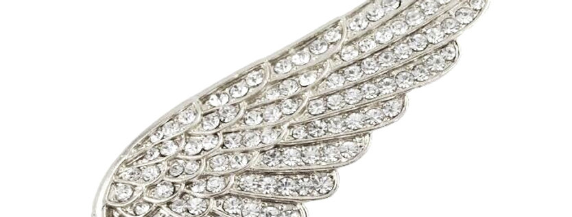 Wings Rhodium Plated Cubic Zirconia and Opal Studded Brooch for Girls and Women