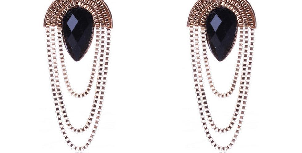 Silver Shoppee Jhumki Earrings for Girls (Black) (SSER1367)