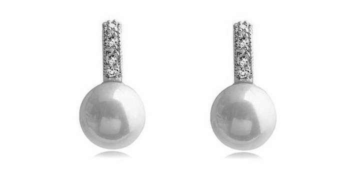 Pristine Rhodium Plated Cubic Zirconia and Pearl Metal Earrings for Girls