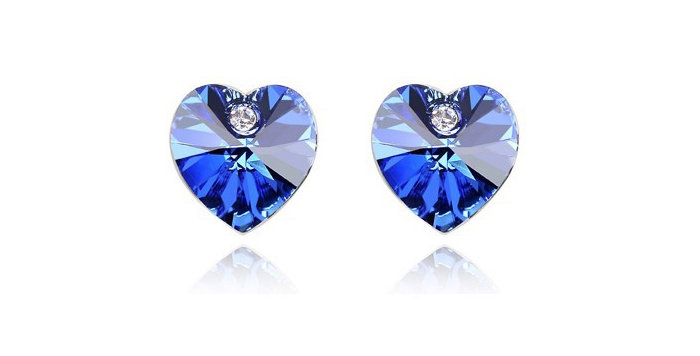 Crossed Hearts Rhodium Plated Crystal Studded Earrings for Girls and Women