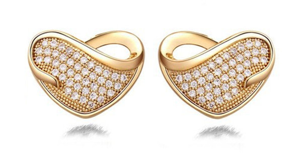 Sweetheart 22K Yellow Gold Plated K Cubic Zirconia Stud Earring for Girls