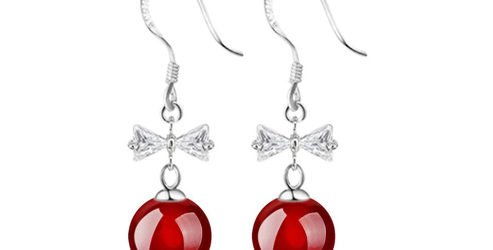 Silver Shoppee Silver Plated Jhumki Earrings for Women (Red) (SSER1421B)