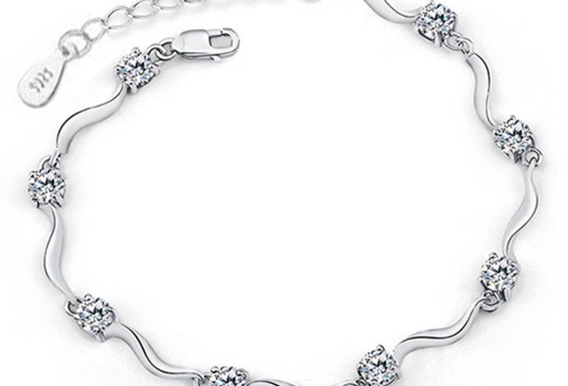 Esteem Swarovski Crystal Studded Sterling Silver Bracelet (SSBR0977A)