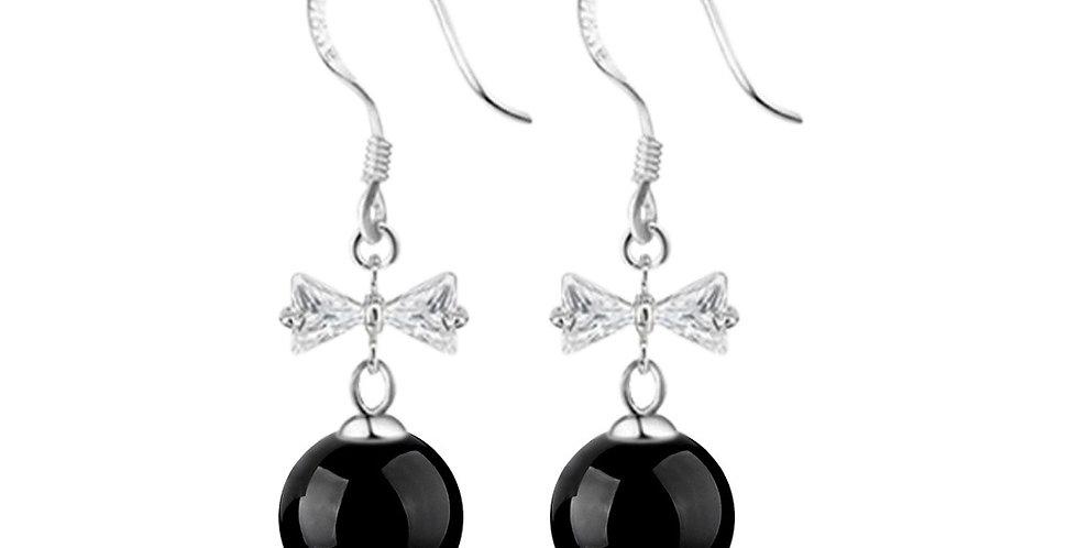Silver Shoppee Silver Plated Jhumki Earrings for Women (Black) (SSER1421C)