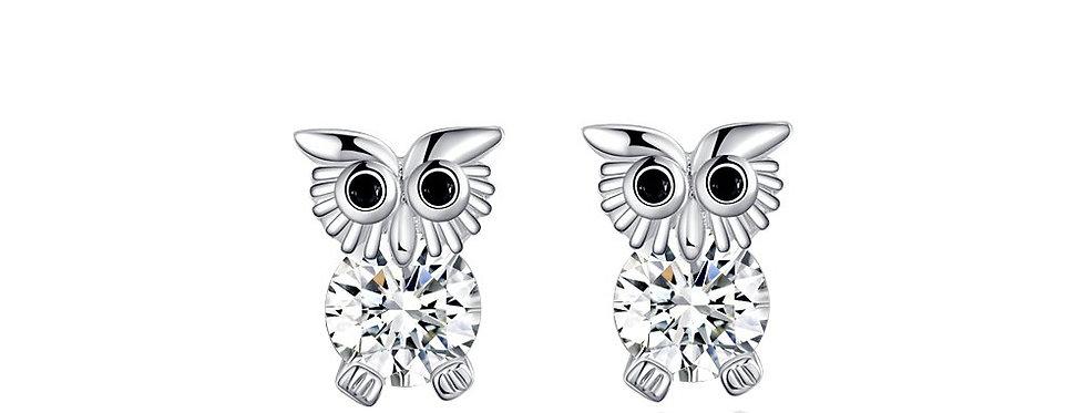 Sterling Silver Austrian Crystal Studded Owl Earrings for Women (SSER1269)
