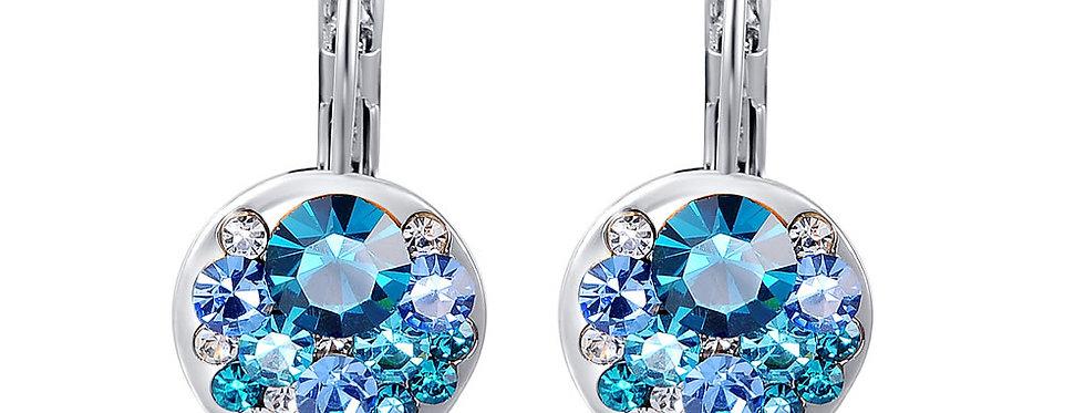 Esteem Blue Austrian Crystal Sterling Silver Earrings for Girls and Women