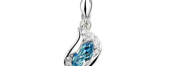 Sweetheart Rhodium Plated Crystal and Cubic Zirconia Pendant for Girls