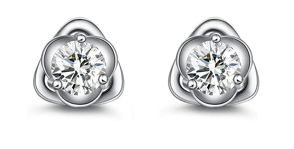Silver Plated Fashion High Quality Crystal Stud Earrings for Girls