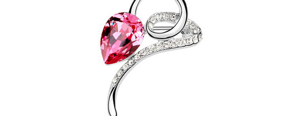 A Raindrop Rhodium Plated Crystal and Cubic Zirconia Brooch for Girls and Women