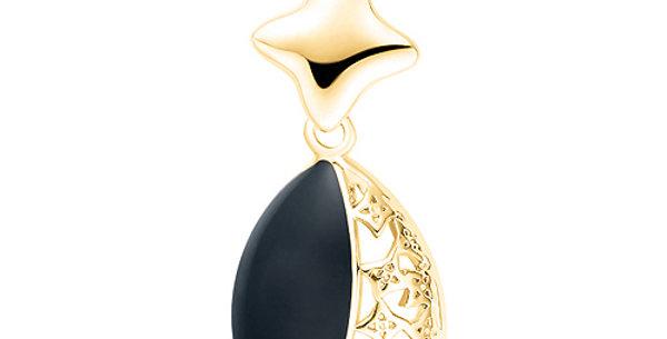Silver Shoppee Pendant for Women (Black) (SSPD0204B)