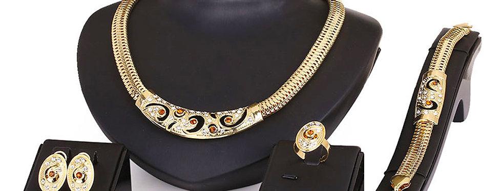 Silver Shoppee Gold Plated Jewellery Set for Women (Golden) (SSJS2243)