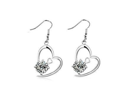 Silver Shoppee Jhumki Earrings for Women (White) (SSER0306A)