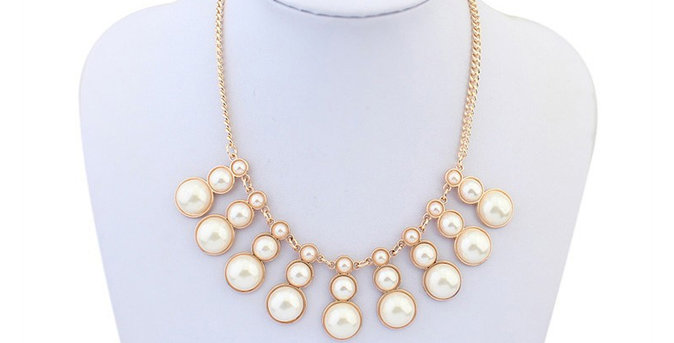 Ascending Pearls Rhodium Plated Pearl Studded Necklaces for Girls and Women