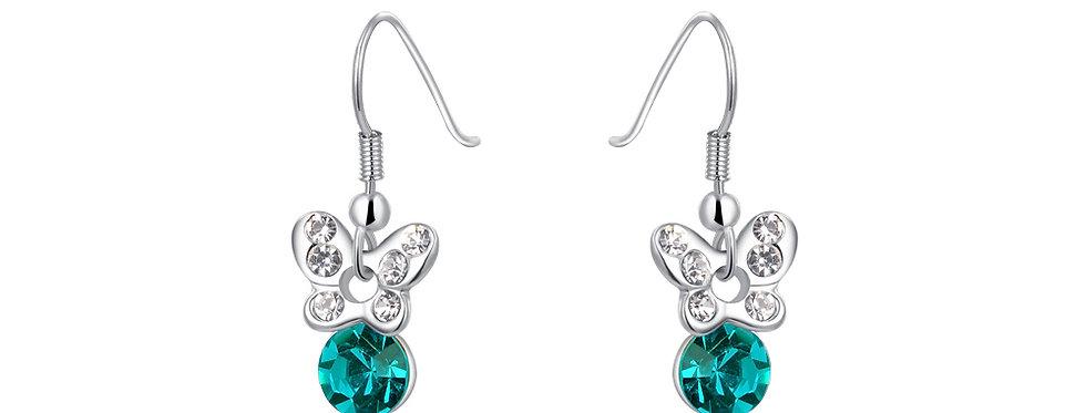 Silver Shoppee Jhumki Earrings for Women (Green) (SSER1279)