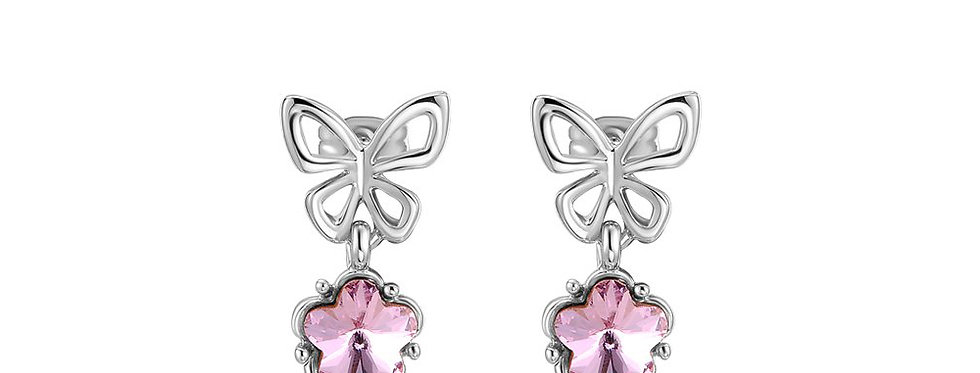 The Power within Austrian Crystal Sterling Silver Earrings for Girls