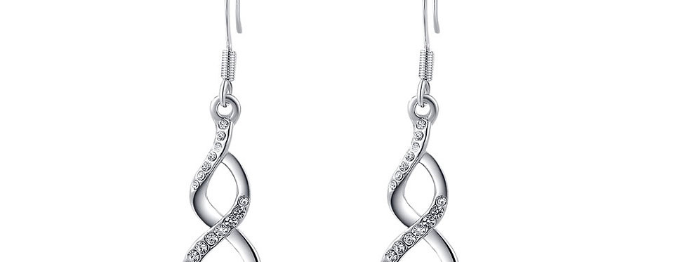 My love Austrian Crystal Studded Sterling Silver Earrings for Girls and Women