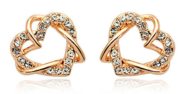 18K Rose Gold Plated Cubic Zirconia Alloy Stud Earring For Girls And Women