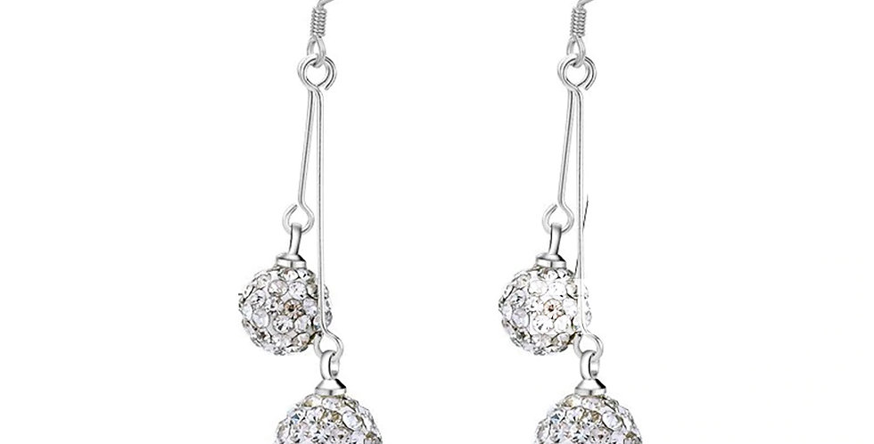Silver Plated Fashion High Quality Crystal Dangle Earrings for Girls